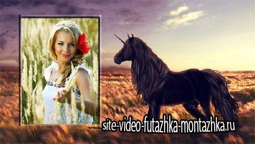 Фоторамка для фотошопа - Единорог в поле