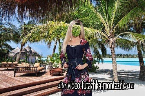 Женский шаблон - Девушка в платье на отдыхе