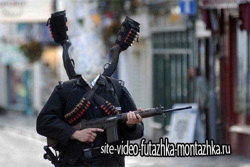 Photoshop шаблон - Опасный полицейский