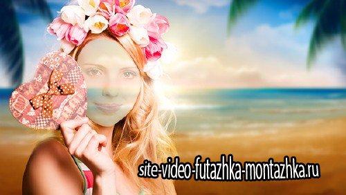 Шаблон для Photoshop - Блондинка на море