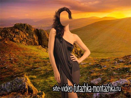 Женский фото шаблон - Прекрасная долина на закате