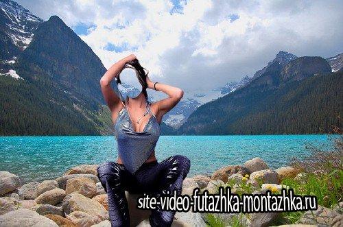 Photoshop шаблон - Возле горного озера