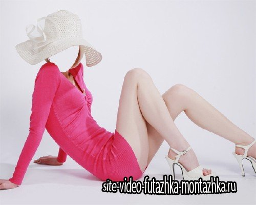 PSD шаблон для девушек - В платье и шляпе