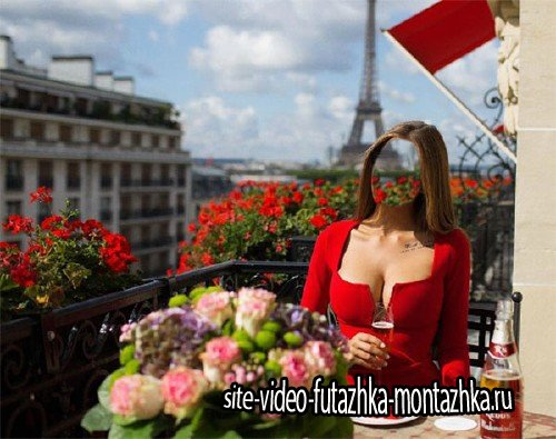 Photoshop шаблон - На балкончике в Париже