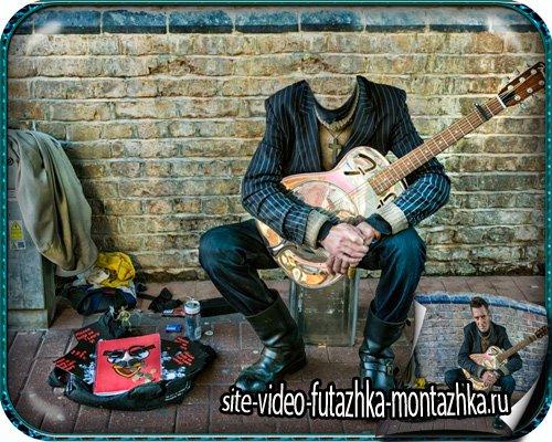 Шаблон фотошоп - Парень, музыка, гитара