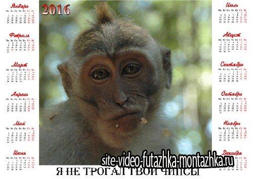 Красивый календарь - Веселая обезьяна