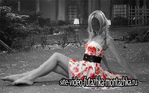 Фото шаблон - Цветное платье