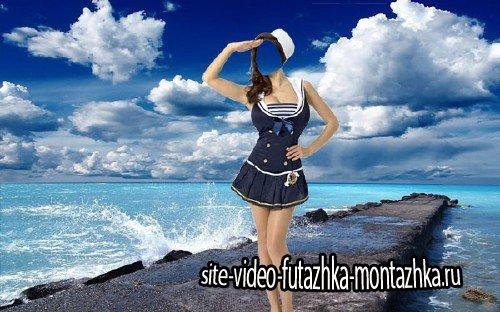 Женский шаблон - В костюме морячки возле моря
