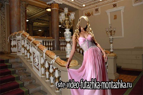 Шаблон psd - В красивом розовом наряде в театре