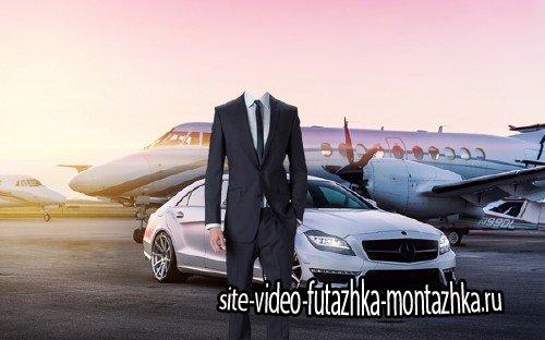 Шаблон psd мужской - Личный самолет и дорогой автомобиль