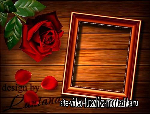 PSD исходник - Фото с розой