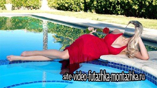 Женский фото шаблон - Отдых у бассейна