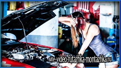 Шаблон для фото - Девушка в автомастерской