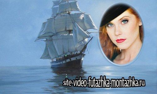 Рамка к фото - Парусник в море