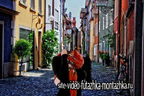 Шаблон psd женский - Путешествия по улицам в Германии