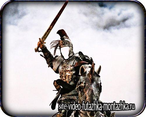 Psd шаблон - Наездник с мечом на своем скакуне
