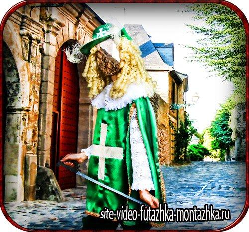 Шаблон для фотошопа - Девушка в костюме мушкетера