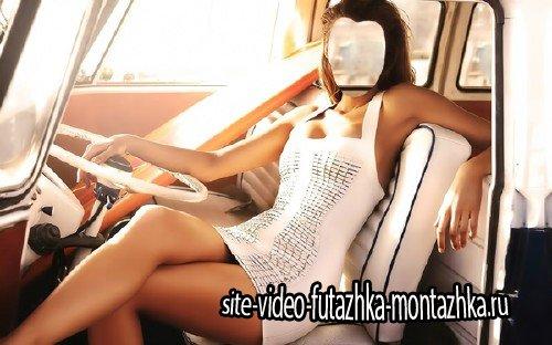 Шаблон psd - В ретро авто в белом платье