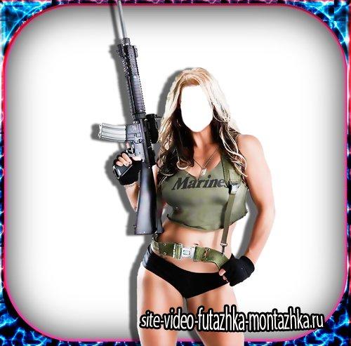 Шаблон для фотошопа - Девушка армии