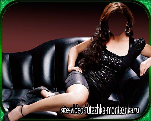 Шаблон для фотошопа - Девушка в черном платье позирует фотографу
