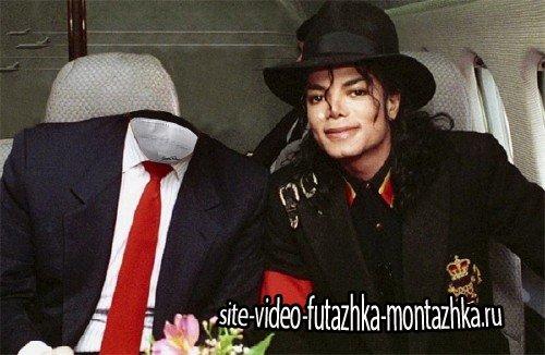 Шаблон psd мужской - В самолете с Майклом Джексоном