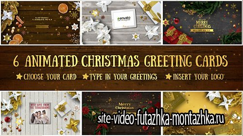 6 Christmas Greeting Cards - Project for After Effects (Videohive)
