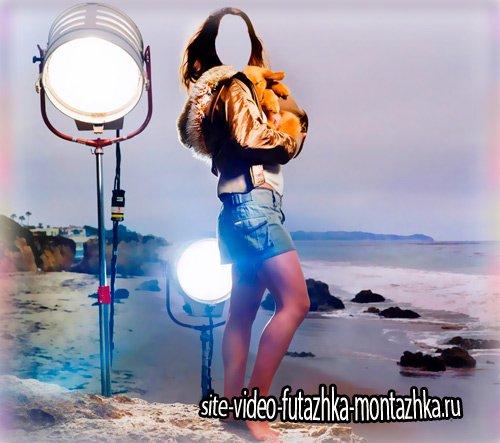 Шаблон для монтажа - Девушка с кроликом на берегу