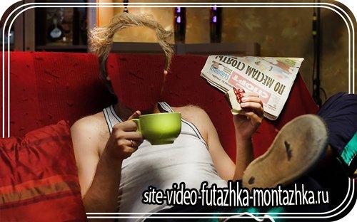 Шаблон фотошоп - В дырявых кедах с чашечкой кофе