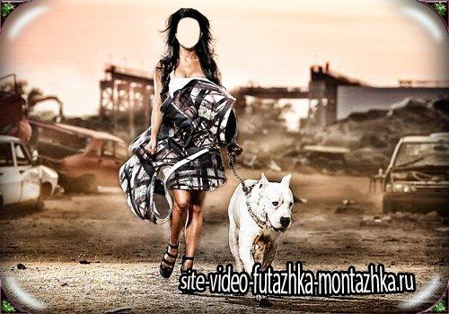 Шаблон фотошоп - Аргентинский дог