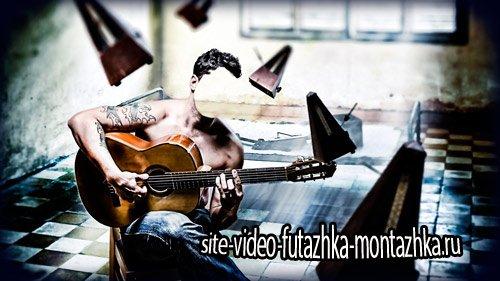 Многослойный шаблон для фотомонтажа - Играя на гитаре