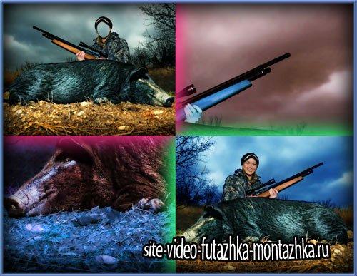 Шаблон фотошоп - Опытная охотница