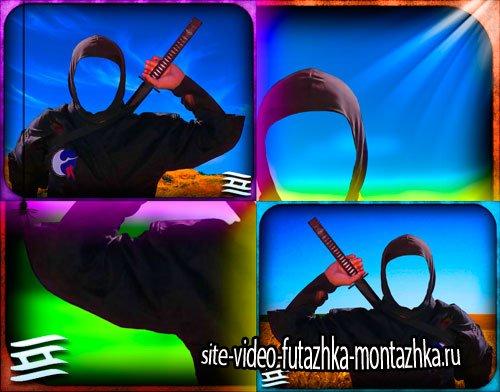 Мужской шаблон - Ниндзя в черном костюме