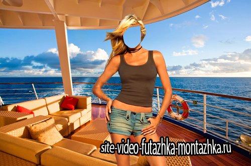 Шаблон для фотошопа  - Девушка на прогулочной яхте